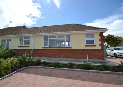 Side elevation of completed single storey kitchen and dining room extension