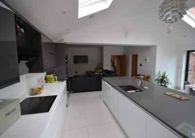 Internal view of completed of single storey kitchen and dining room extension
