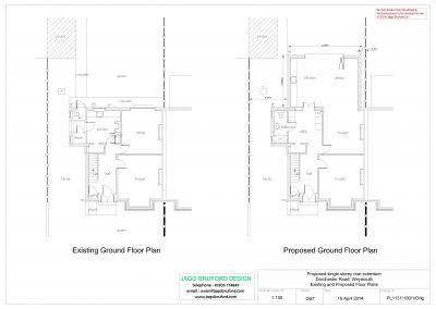 Existing and proposed plans of single storey kitchen and dining room extension