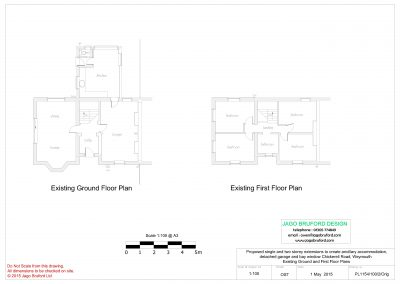 Existing floor plans of single and two storey extensions creating ancillary accommodation