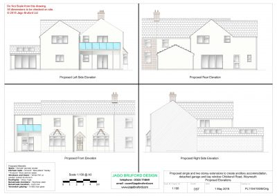 Proposed elevations of single and two storey extensions creating ancillary accommodation