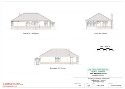 Existing elevations of single storey kitchen and dining room extension