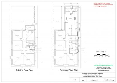 Existing and proposed floor plans of single storey kitchen and dining room extension