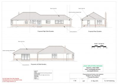 Proposed elevations of single storey kitchen and dining room extension