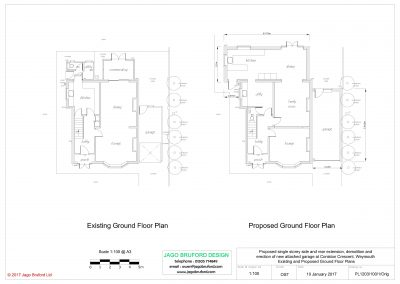 Existing and proposed floor plans of single storey side and rear extensions and attached garage