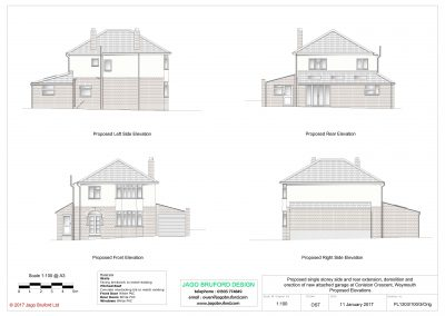 Proposed elevations of single storey side and rear extensions and attached garage