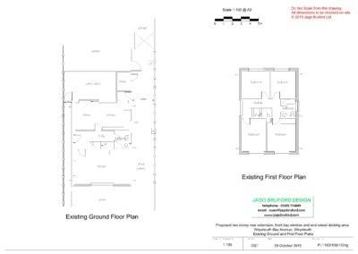 Existing ground and first floor plans of single and two storey extensions