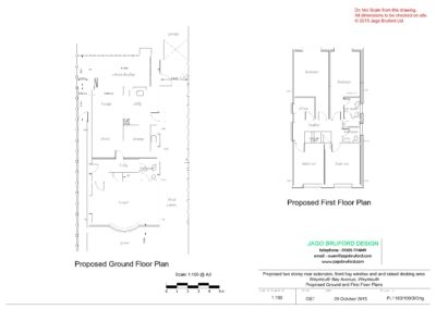 Proposed ground and first floor plans of single and two storey extensions