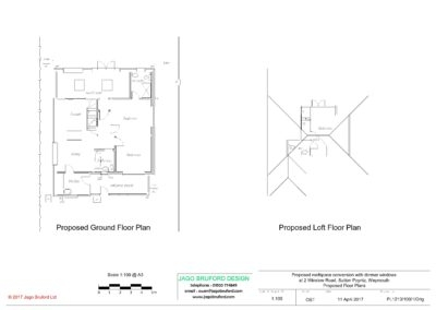 Proposed floor plans of roofspace conversion with dormer windows
