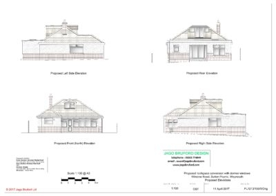 Proposed elevations of roofspace conversion with dormer windows