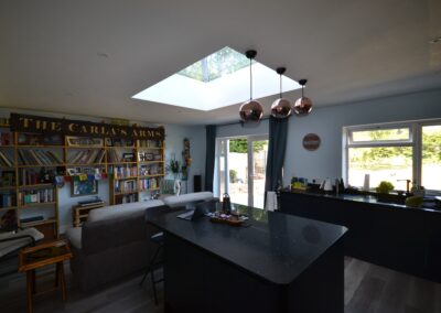 Internal view of completed of single storey kitchen and dining room extension showing glazed roof lantern