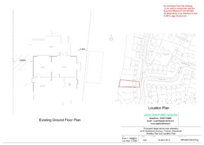 Existing floor plan of single storey rear lounge extension