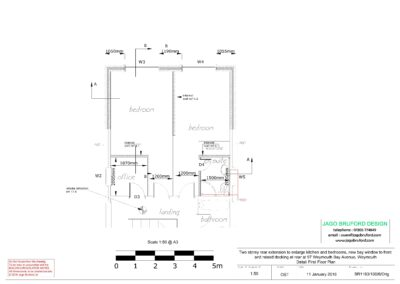 Proposed detail construction first floor plan of two storey kitchen, dining room and bedroom extension
