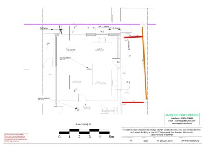 Proposed detail construction ground floor plan of two storey kitchen, dining room and bedroom extension