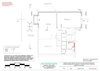 Proposed detail construction first floor plan of single and two storey extensions creating lounge, dining room, kitchen and bedroom with en suite bathrooms
