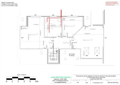 Proposed construction first floor detail plan of two storey lounge, utility room and bedroom extensions