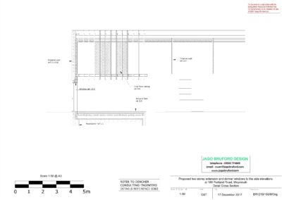 Proposed construction section of two storey lounge, utility room and bedroom extensions