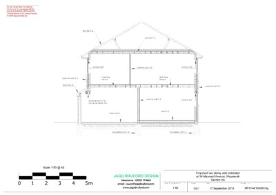 Proposed construction sections of completed two storey extension creating lounge, utility and bedroom with en suite bathroom