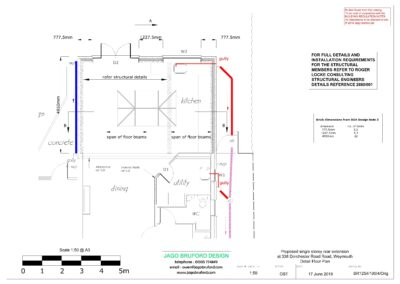 Proposed construction detail plan of completed of single storey kitchen and dining room extension