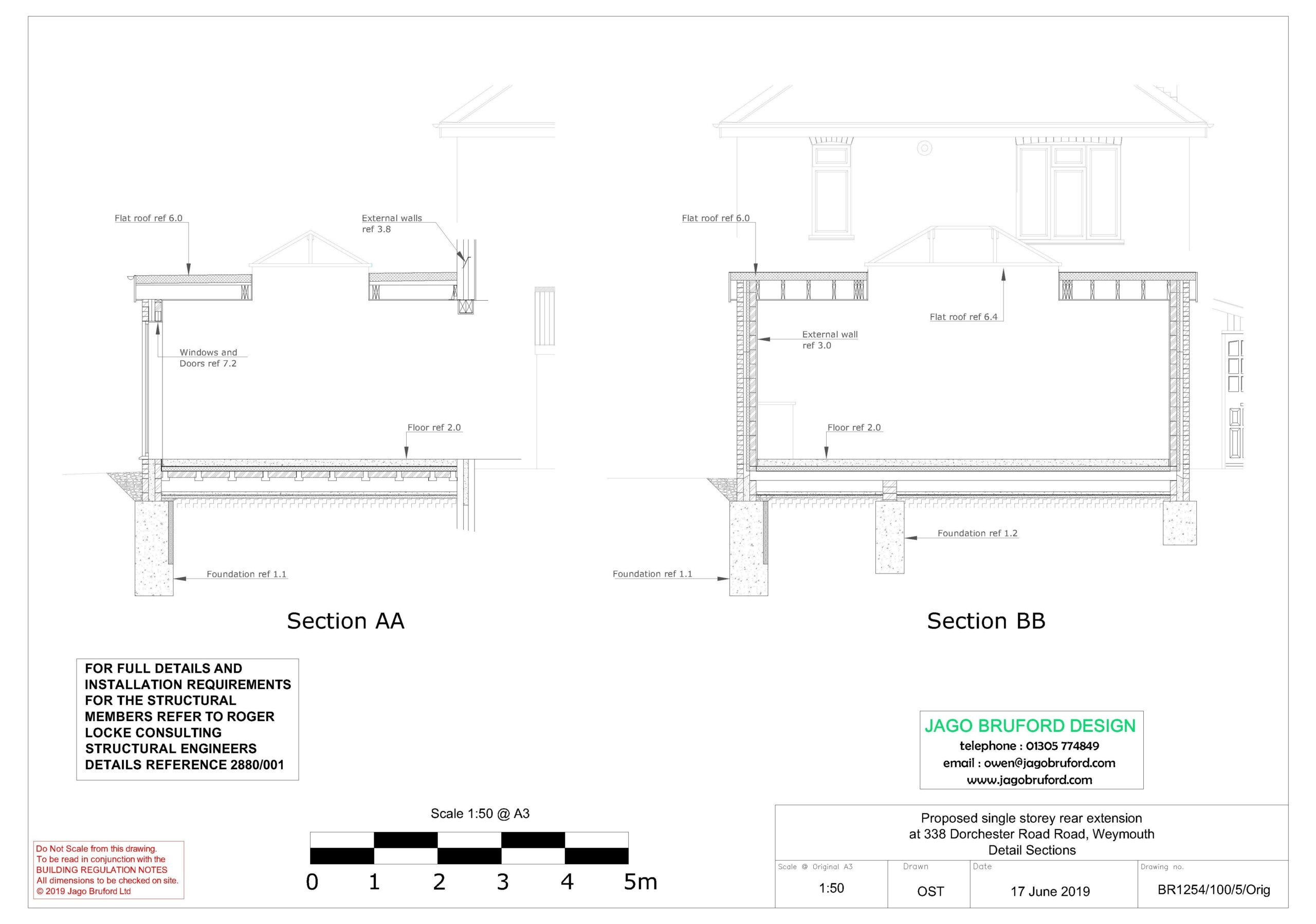 Proposed construction sections of completed of single storey kitchen and dining room extension