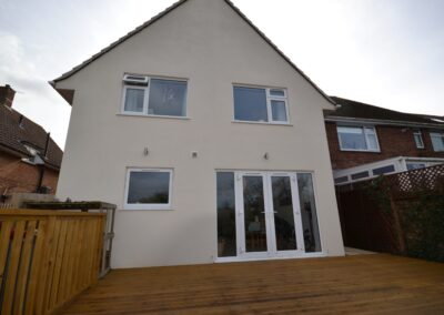 External view of completed two storey kitchen, dining room and bedroom extension