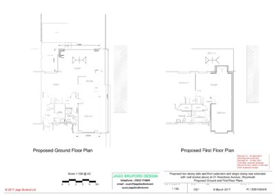 Proposed ground and first floor plans of single and two storey extensions creating lounge, dining room, kitchen and bedroom with en suite bathrooms