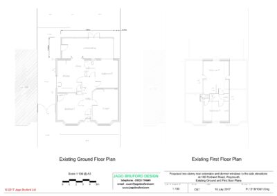 Existing ground and first floor plans of two storey lounge, utility room and bedroom extensions