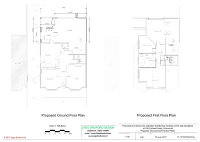 Proposed ground and first floor plans of two storey lounge, utility room and bedroom extensions
