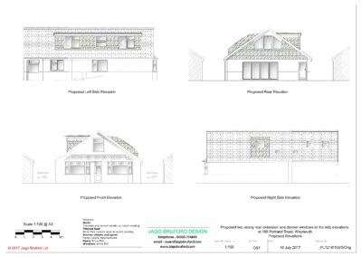 Proposed elevations of two storey lounge, utility room and bedroom extensions