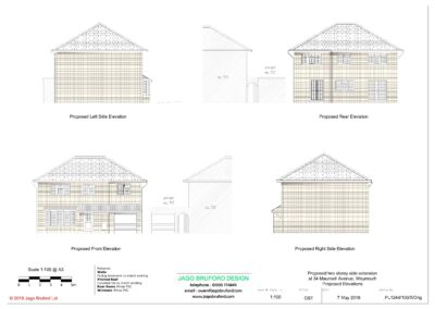 Proposed elevations of completed two storey extension creating lounge, utility and bedroom with en suite bathroom