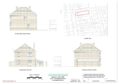 Existing elevations of completed of single storey kitchen and dining room extension
